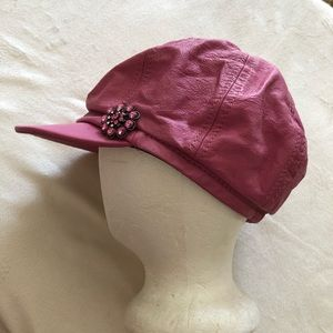 Pink Wilsons Leather Newsboy Hat Cap Rhinestones